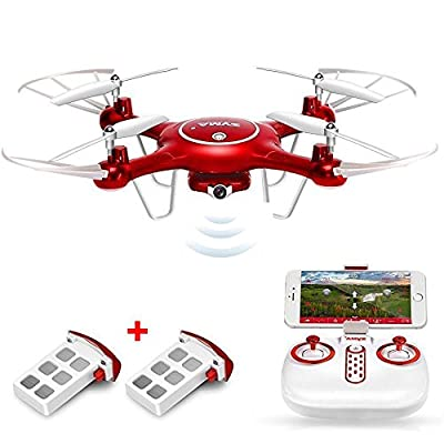 Syma X5UW Wifi FPV Drone with HD Camera 720P Headless Mode Altitude Hold Mode RC Quadcopter RTF with 2Pcs Battery