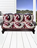 Yellow Weaves™ 2 Piece 3 Seater Maroon Cotton Sofa & Chair Cover Set