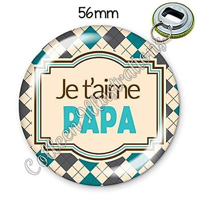 Porte-clés décapsuleur 56mm Papa je t'aime idée cadeau anniversaire noël annonce grossesse fête des pères
