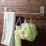 ETiME Selbstklebender Handtuchhalter Edelstahl mit 5 Haken 3M Selbstklebende Handtuchstange ohne Bohren gebürstetem Edelstahl für Bad und Küche 70cm