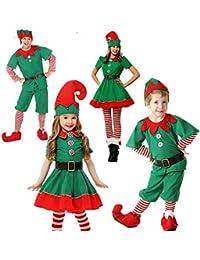 YuFLangel Disfraz de Navidad Disfraz de Duende de Navidad para niños Cosplay Disfraz de Padre e