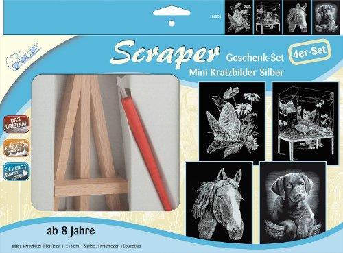 MAMMUT 114004 - Geschenk-Set Mini Kratzbilder Silber, Scraper, Scratch, 4er-Set mit 4 Kratzbildern, Tischstaffelei, Kratzmesser und Übungsblatt, Kratzset für Kinder ab 8 Jahre