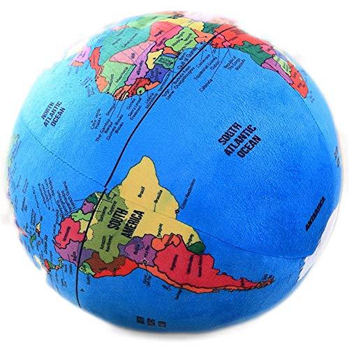 Wagsiyi Globus Simulations-Kugel-kreatives Plüsch-Spielzeug-Geografie-Wissen, das Helfer-Plüsch lernt Desktop-Globus (Farbe : Blau, Größe : 30cm)
