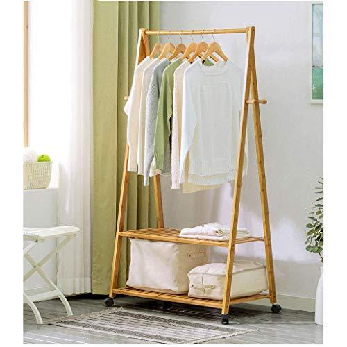 Kleiderständer Doppelschiene Kleiderständer Multifunktionale Kleiderbügel Mit Roller Bamboo Natural Color (Größe: 148 times; 60 times; 46cm)