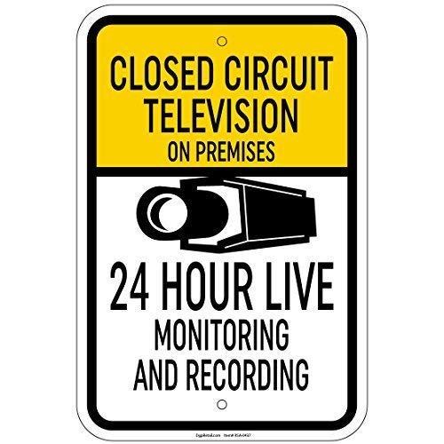 Tin Sign Fashion Closed Circuit Tv On Premises 24 Hour Live Monitoring Sign Metal Aluminum Sign Wall Plaque for Indoor Outdoor 7.8x11.8 Inch Circuit Tv