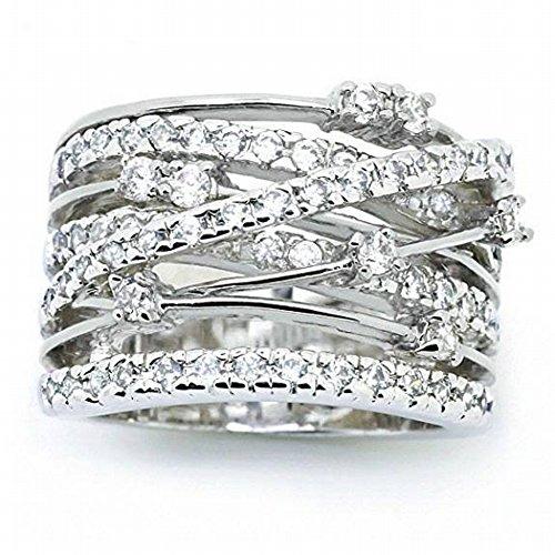 Thumby Flash-Diamant Mikro-Intarsien Zirkon Ring Kreativer Diamant Kreuz-Farbigen Ring Geometrische Diamant Damen Sterling Silber Intarsien Edelstein, Platin, 6 (Edelstein-hochzeit Farbige Ringe)