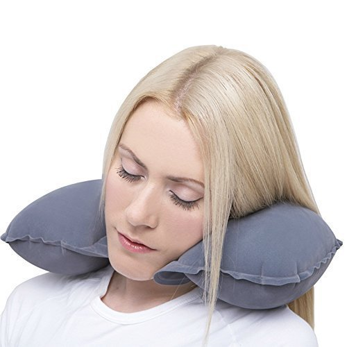 WebelKart U-Shaped Easy to Carry Multi Utility Travel Kit - Inflatable Neck Air Cushion Pillow/ Neck Travel Pillow for Car, Train, Flight, Bus