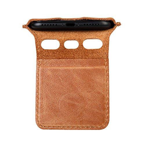 IPhone 7 / 8 Hülle, Jisoncase VINTAGE Ledertasche Apple iPhone 7 / 8 Case in klassische Farbe aus hochwertigem Leder graue Tasche, JS-IP6-24A64 Braun