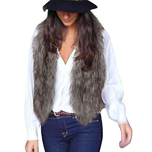 Bekleidung Damen Hirolan Mode Fellweste Frau Faux Pelz Weste Ärmellos Mantel Oberbekleidung Jacke Weste übergangsjacke (L, Grau) (Pelz Jacke Mantel Weste)
