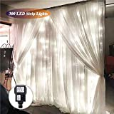SOLMORE 3Mx3M Rideau Lumineux 300 LED Festival Guirlande Lumineuse pour Décoration de Noël/Fête/ Mariage/Soirée / Anniversaire EUR Prise 220V (Blanc)