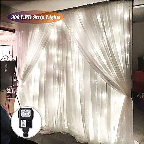 LED Lichtvorhang Weiß,SOLMORE 3x3m Lichtkette 8 Modi 300LEDs Romantisch Licht Schnur String Fairy Lights IP44 Wasserdicht für Party Hochzeit Home Decoration Garden Weihnachten
