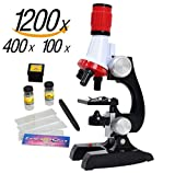 Children Microscope, COTOP Science Kits for Kids Microscope Beginner Microscope Kit LED 100X, 400x, and 1200x Magnification Kids Science Toys Children Gift,Red