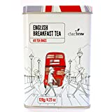 Charbrew's English Breakfast Tea Canister - Edición Limitada Collectors Artículo 60 English Breakfast Tea Bags