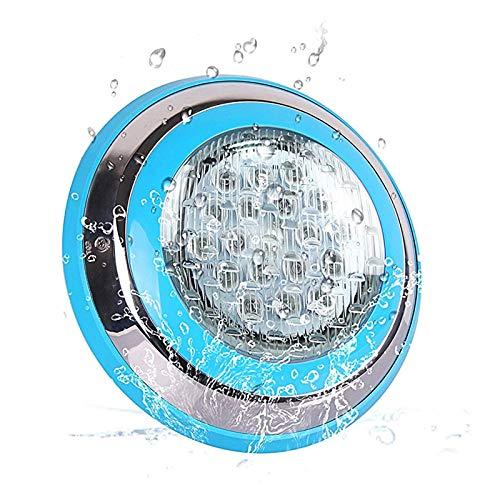Roleadro Weiß LED Poolbeleuchtung IP68 Edelstahl Schale,Unterwasser Led Pool für Schwimmbad ersatz Halogen Scheinwerfer DC/AC 12V[18 * 3W]