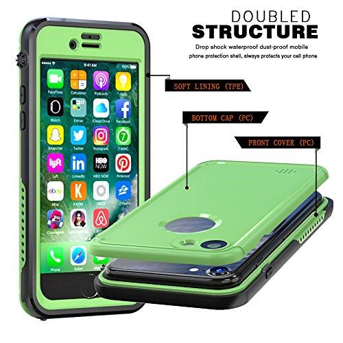 iPhone 7 Wasserdichte Hülle, FindaGift IP68 Outdoor Handyhülle Full Sealed Tasche Case Ultra dünn Full Body Staubdicht Stoßfest Schneedicht Anti-Kratzer Underwater Schutzhülle mit Displayschutzfolie f Glasgrün