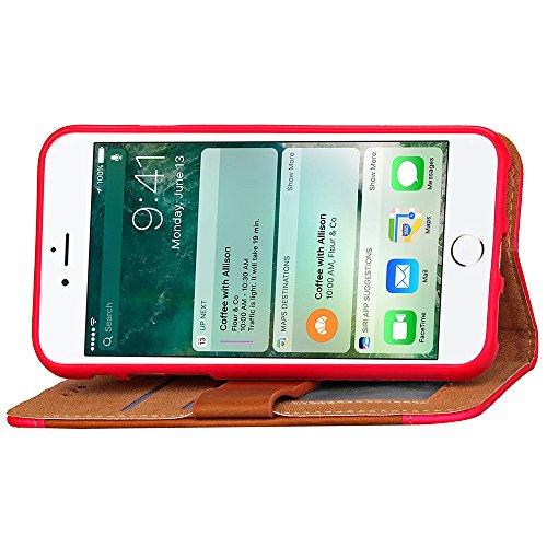 Voguecase® Pour Apple iphone 7 Plus 5,5 Coque, Étui en cuir synthétique chic avec fonction support pratique pour Apple iphone 7 Plus 5,5 (fente rotation-Noir)de Gratuit stylet l'écran aléatoire univer Couleur Hit peau élastique-Rose