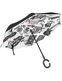 COOSUN Símbolos relacionados al rock and roll de la capa doble del paraguas invertido inversa para