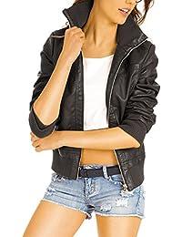 Bestyledberlin Damen Jacken, Kunstleder Jacke, Biker Style Blouson, Damenjacke kurz ja55