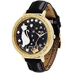 Fq-280 Kitty Pearls Design Black Face Women's Girl's Wrist Watches Golden Case