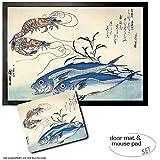 Set: 1 Fußmatte Türmatte (70x50 cm) + 1 Mauspad (23x19 cm) - Utagawa Hiroshige, Makrelen und Garnelen, 1834-35