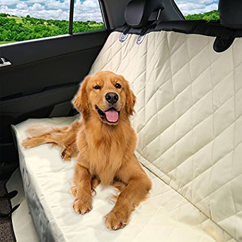 Pet Seat Cover for Car Seats - Hammock Style Cover Protects Car Back Seats from Dog Fur, Mud, Scratches (Beige) by Pet