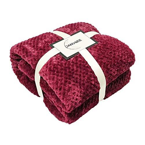 DANUBEE Premium-gewichtete Fleecedecke, warm, weich, wendbar, luxuriös, Queen/Twin/Full Size Bett, Baumwolle/Mikrofaser, gemütlich und bequem, Rot/Blau / Braun 50''*60'' weinrot -