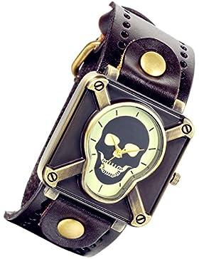 lancardo Vintage Steam Punk Gothic Kruzifix Skull Leder Unisex Herren Damen Armbanduhr (braun)