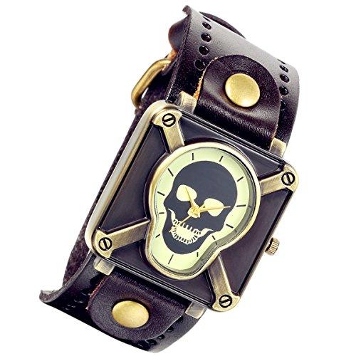 am Punk Gothic Kruzifix Skull Leder Unisex Herren Damen Armbanduhr (braun) (Halloween Steam Sales)