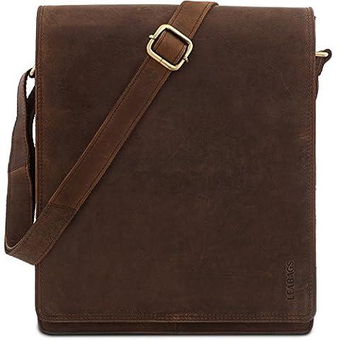 LEABAGS London genuine buffalo leather messenger bag in vintage style - Nutmeg