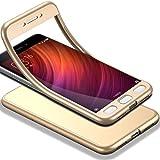 HICASER Redmi Note 4 360 Grados Cuerpo Completo Protección + Cristal Templado, Soft TPU Case Antideslizante Carcasa para Xiaomi Redmi Note 4 Oro