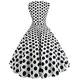 BringBring Damen Kleid Ärmelloses Dot 50s Schwingen Vintage Rockabilly Faltenrock (XL, White)