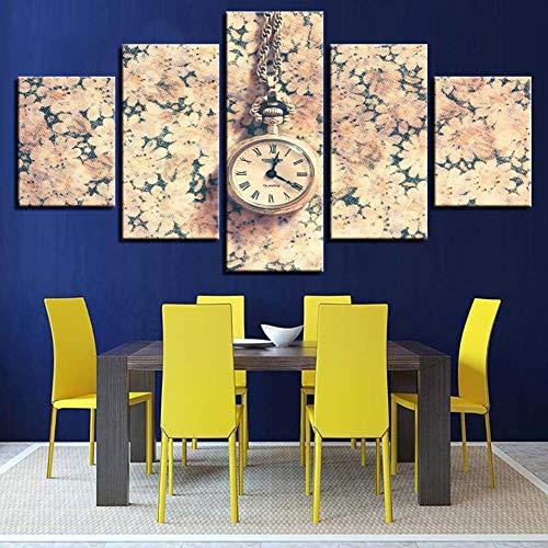 WLHAL Moderne Rahmen Modulare Leinwand Malerei 5 Stücke Vintage Blumen Taschenuhr Bilder HD Druckt Dekor Flur Wandkunst Poster/40X60cmX2 40X80cmX2 40X100cm