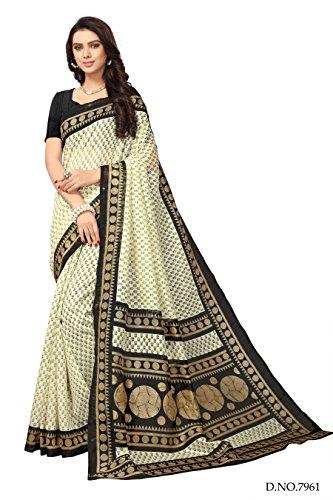 Applecreation art silk saree With Blouse Piece (off white Saree_Free Size_SRJB014)