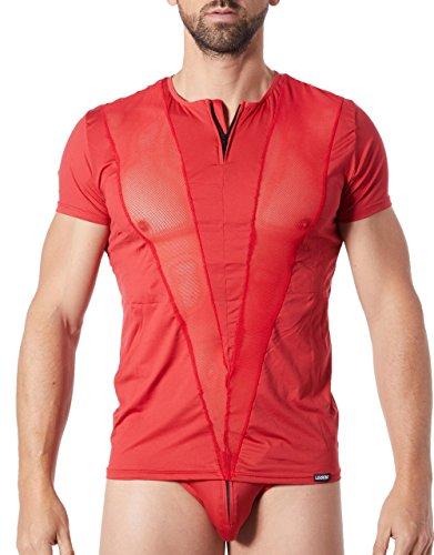 Look Me lm805-81redm T-Shirt Rot Herren Weich mit Streifen Netzstoff in V mit Rundhalsausschnitt/Zip - Rote Leder-shirt
