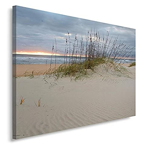 Feeby Frames, Single Panel Print, Wall Art Picture, Image Printed on Canvas, 50x70 cm, BEACH, DUNES, SAND, SEA, WATER, GRASS, SAND, GREEN,