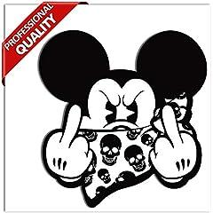 Idea Regalo - SkinoEu® 2 x Adesivi Vinile Stickers Autoadesivi Divertente Mickey Mouse Dito Medio Cranio Auto Moto Finestrino Porta Casco Scooter Bici Motociclo Tuning B 34