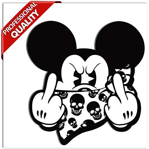 SkinoEu® 2 STÜCK Vinyl Aufkleber Stickers AUTOAUFKLEBER Micky Maus MITTELFINGER STINKEFINGER Auto Motorrad Fenster TÜR Fahrrad Tuning B 34