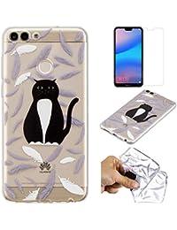 QFUN Funda Huawei P Smart Silicona Transparente, Suave Carcasa Flexible con Dibujos [Gato Negra