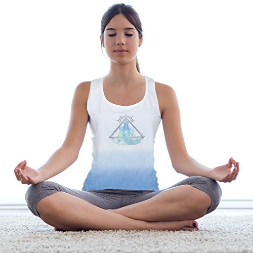 Baumwolle Trägershirt U Hals Stilvolle ärmellose Fur Damen mit blaue Buddha Spirituellen Entwurf Fur Frauen Für Sport Jogging Turnhalle laufen T-Shirt (Blau und weiß- Damen, S)