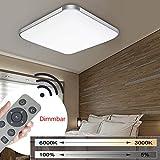 MYHOO 24W Dimmbar Ultraslim LED Deckenleuchte Modern Deckenlampe Schlafzimmer Küche Flur Wohnzimmer Lampe (Silber Dimmbar 3000-6500K)