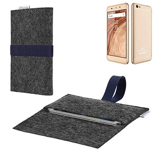 flat.design vegane Handy Hülle Aveiro für Blaupunkt SL02 passgenaue Filz Tasche Case Sleeve Made in Germany