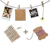 Fotoleine, Fotoseil, Bastelset für Fotos, Fotowand oder Adventskalender mit 10 m Bakers Twine Garn, rot weiß & 24 Klammern, für Polaroids, Postkarten, Bilder, Souvenirs und Geschenke, Hochzeitsspiel