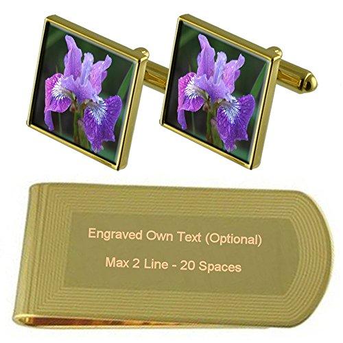Select Gifts Iris Blume Gold-Manschettenknöpfe Geldscheinklammer Gravur Geschenkset