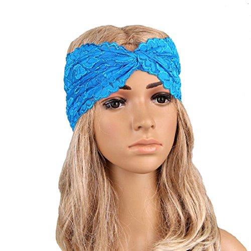 Butterme Filles Femmes Dentelle Bandeau Cheveux Turban Serre-tête Cheveux Accessoire bleu profond