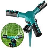 Covermason Garten Sprinkler, Automatische 360 Grad Rotierende Rasen Wasser Sprinkler 3-Arm Sprenger für Bewässerungsanlagen Lawn Sprinkler (Grün)