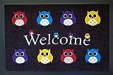 Fußmatte Fußabtreter Schmutzmatte Motiv Design Eule OWL (braun)