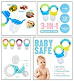 #8: Baby Fresh Food, Fruit and Vegetable Feeding Pacifier By Flick In   Silicone BPA Free Teething Pacifiers   Baby Nibbler Food Feeder Teether   Baby Feeding Teething Toy   Mesh Feeder Teethers Toys  Feeder With Rattle   6 to 12 Months (Multicolour)