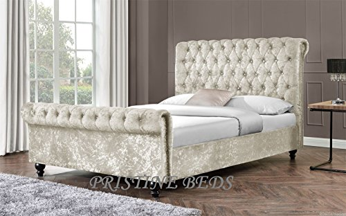 New Stunning Crushed Velvet Luxurious Chesterfield Bed Frame , Double 4FT6, King Size 5FT (4FT6 Double, Cream)