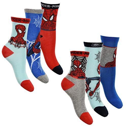 Spiderman 6er Pack Jungen Socken Strümpfe mit vielen verschiedenen Muster und Designs (Spiderman Mix 2, Schuhgröße EUR 31-34)