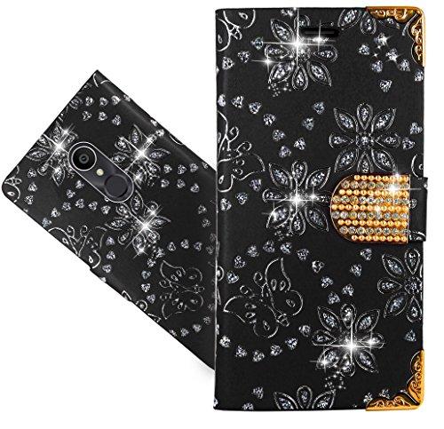 Alcatel 3C Handy Tasche, FoneExpert® Wallet Case Cover Bling Diamond Hüllen Etui Hülle Ledertasche Lederhülle Schutzhülle Für Alcatel 3C